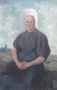 """Portret van Gerritje Vos (""""Edje Bom"""") met in de achtergrond het dorp Huizen"""