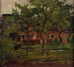 Farm building in Het Gooi, fence and trees in the foreground