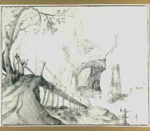 Rotslandschap met grot en houten brug
