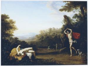 Boslandschap met Cephalus die de stervende Procris ontdekt (Ovidius 7:795-866)