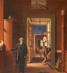 Gezicht in het Natuur-historisch museum te Kopenhagen met portretten van Peder Lorenzen (1821-1881) en Ole Thor Rasmussen (1833-1912)