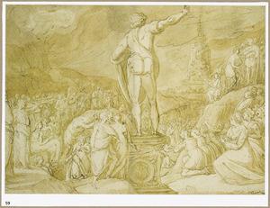 Knielende en musicerende figuren bij een standbeeld, op de achtergrond de toren van Babel(Genesis 11:3-5)