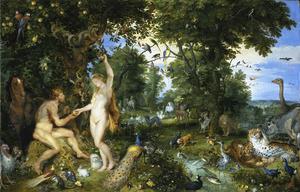 Het hof van Eden met de zondeval (Genesis 3:4)