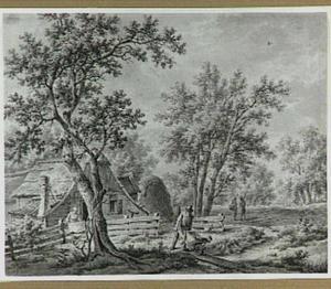 Landschap met boerderij, man met kruiwagen en andere figuren