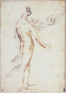 Staande naakte vrouw, rugfiguur