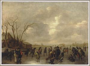 Winterlandschap met schaatsende, kolvende en sleeënde figuren