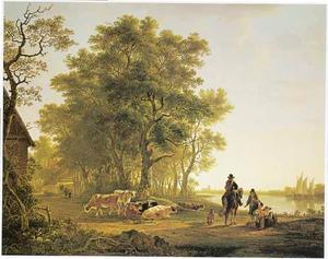 Rivierlandschap bij Dordrecht met ruiter en koeien