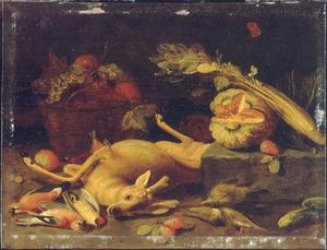 Stilleven van jachtbuit, groenten en een mand met vruchten