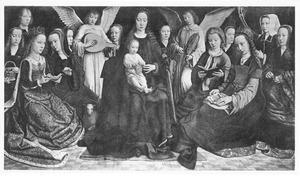 Maria met kind, vrouwelijke heiligen, musicerende engelen en stichters