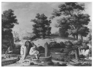 Landschap met badende vrouw