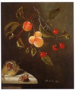 Stilleven met abrikozen, kersen en een walnoot