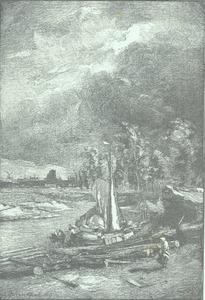 Rivierlandschap met dok