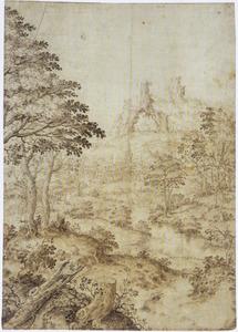Rivierlandschap met kasteel en rotsboog