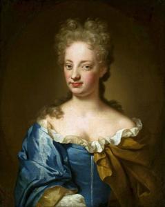 Portret van jonge vrouw in blauwe jurk