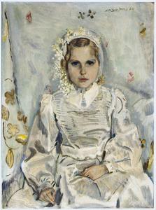 Portret van Berthilde van Abbe in communiejurk