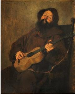 Gitaar spelende monnik