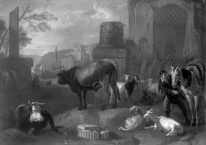Koeien, geiten en ruiter met paard tussen Romeinse ruïnes