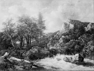 Landschap met waterval, houten brug en kasteel op een berg in de achtergrond