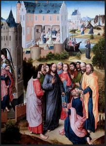 Christus overhandigt Petrus de sleutels van de hemelpoort. In de achtergrond andere voorstellingen uit het leven van de H. Petrus