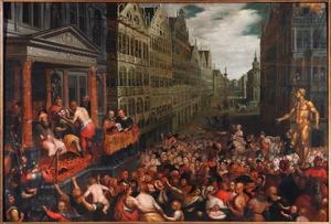 De gerechtigheid van Zaleucus in een gefantaseerde omgeving met Antwerpse motieven