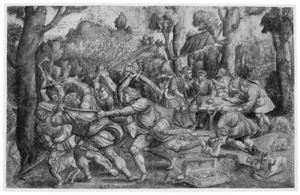 Romulus en Remus verdrijven rovers en verdelen de buit onder de herders (Livius, Ab urbe condita, 1)