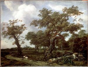 Boslandschap met ruiter en knecht, in de verte Huis ten Bosch, Den Haag