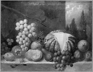 Stilleven van vruchten in een vensterbank
