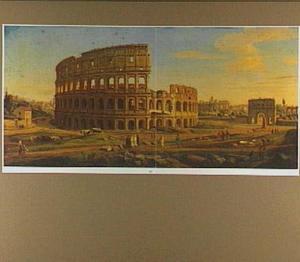 Gezicht op het Colosseum en de Boog van Constantijn in Rome