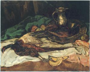 Stilleven met dode fazanten, tinnen kan en fruit