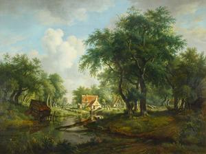 Boslandschap met boerderijen