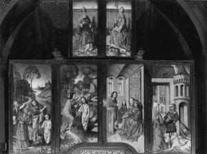 De prediking en het dopen in de Jordaan door Johannes de Doper, de doop van Christus in de Jordaan (buitenzijde linkerluik); Johannes de Doper verwijt Herodus en Herodias, Saloma wordt het hoofd van Johannes de Doper aangeboden (buitenzijde rechterluik); De H. Eskil (buitenzijde linker bovenluik); De H. Sigfrid (buitenzijde rechter bovenluik)