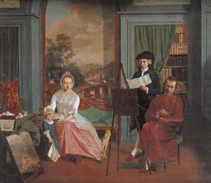 Portret van Hendrik Hoogers (1747-1814), zijn gezin en Roeland van Eynden (1747-1819)