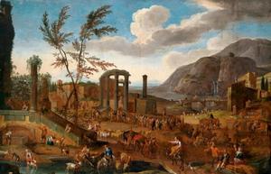 Markt tussen ruïnes in een zuidelijk landschap