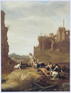 Marsyas door de muzen mishandeld