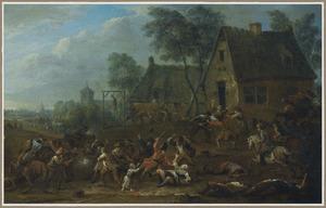 Plundering van een dorp door een groep soldaten