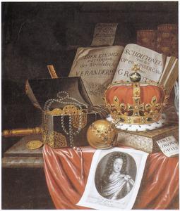 Vanitasstilleven met regalia en portret van koning-stadhouder Willem III (1650-1702)