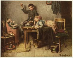 Interieur met spelende kinderen