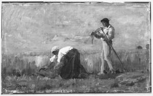 Oogstende boeren