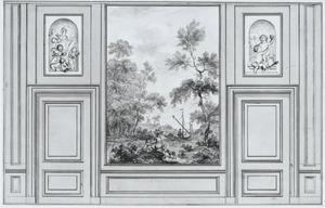 Wand met een behangselvlak met een landschap tussen twee deuren