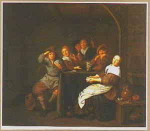 Kaartspelend gezelschap in een interieur