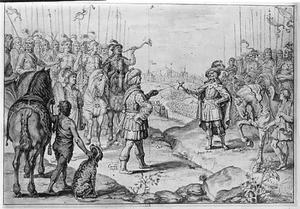 Hertog Rollo wordt beleend met Normandië in 911; op de achtergrond Parijs