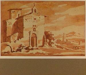 Landschap met italianiserende architectuur