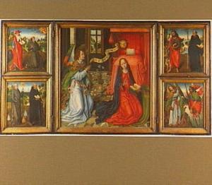 De annunciatie, met links en rechts heiligen in een landschap