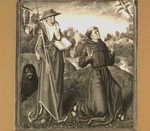 H. Hieronymus (links)  en H. Franciscus (rechts) in een landschap
