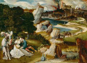 Lot en zijn dochters; op de achtergrond de ondergang van Sodom en Gomorra  (Genesis 19:33-34)
