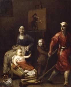 Zelfportret van Giuseppe Maria Crespi (1665-1747) te midden van zijn familie, in de achtergrond een klein schilderij met een  karikatuur van de Bolognese priester Silva