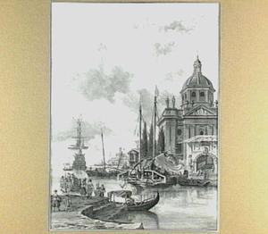 Schepen in een mediterrane haven, met rechts een kerk
