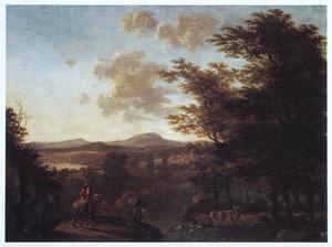 Zuidelijk landschap met ruiter, tekenaar en een veedrijver bij een oversteekplaats van een rivier