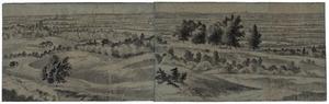 Gelderland, gezicht vanaf de Boersberg richting Elst met rechts daarvan in de verte Nijmegen; links van het midden, boven de donkere boompartij Kasteel Doorwerth