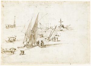 Kade met fontein en zeilschepen (Messina?)